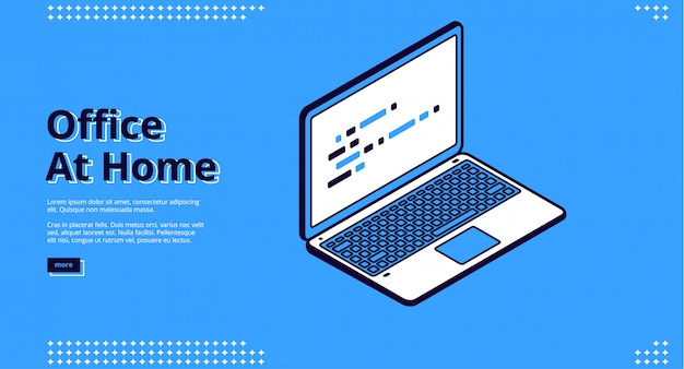 Landing page of home office with laptop