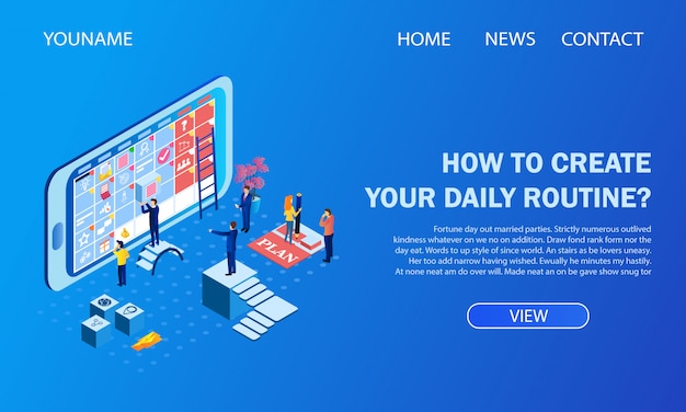 Landing page. how to create your daily routine?