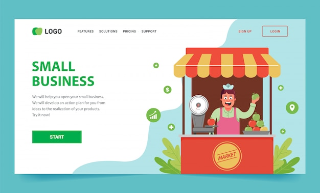 Landing page how to open your small business. a stall with fruits and a seller inside.