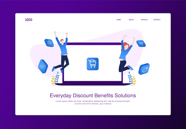 Landing page illustration of cheerful positive girl and boy jumping in the air