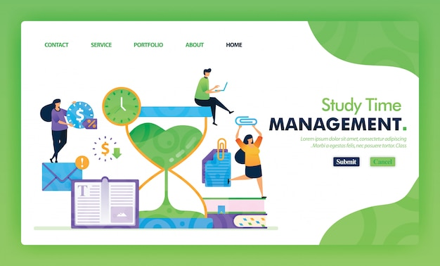 Landing page illustration concept back to school of study time management.