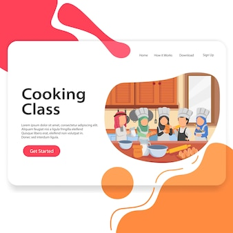 Landing page illustration cooking class arabian kids vector template ui