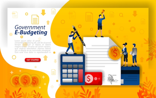 Landing page illustration for e-budgeting or and planning costs