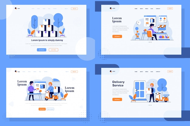 Landing page illustration плоский и контурный стиль дизайна, грузы товаров, интернет-магазин, сделки на рынке, доставка, отгрузка, курьер, водитель
