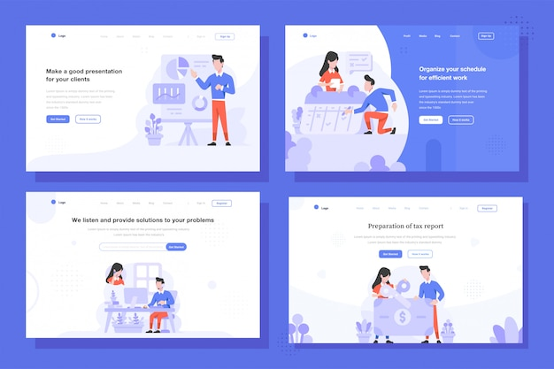 Landing page  illustration flat design style, man and woman doing presentation, scheduling with calendar, customer service call, and tax cutting