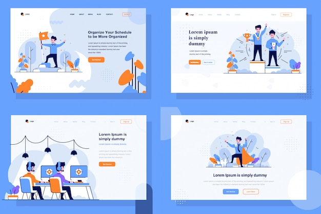 Landing page illustration flat and outline design style, achievement, victory, winners, championship, competition, gamer, pubg player, super employee, hero