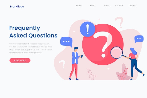 Landing page illustration of frequently asked question concept