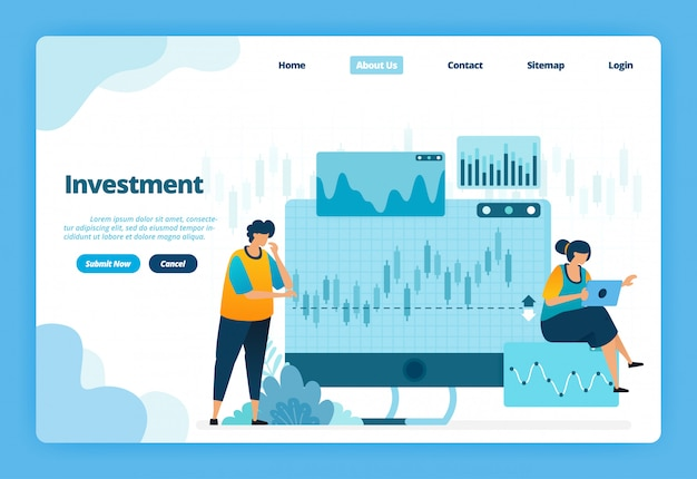 Landing page illustration of investment. forex for modern investment options with trade in currencies and commodities