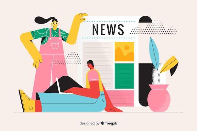 Landing page illustration news concept