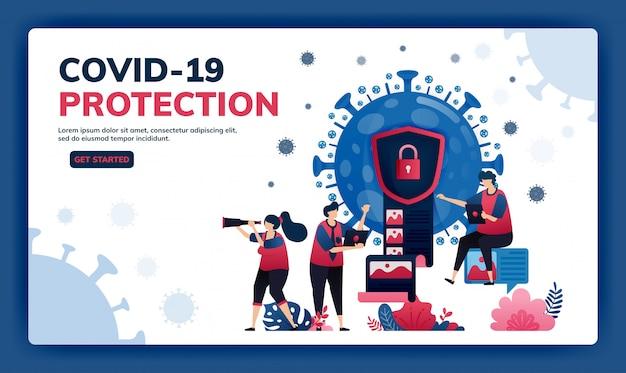 Covid-19ウイルスとワクチンの機密情報を保護するためのデータ暗号化とセキュリティのランディングページの図。