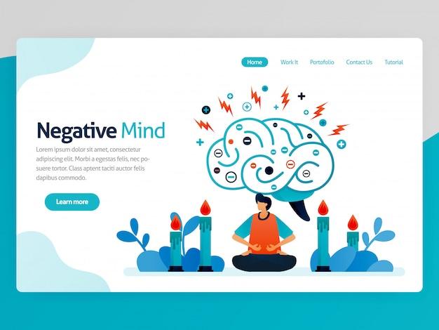 ランディングページネガティブマインドのイラスト。健康、癒し、スピリチュアル、リラクゼーション、抗うつ、心の安らぎ、治療のための瞑想