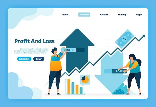 ランディングページ損益のイラスト。金融市場でのキャピタルゲイン投資を取る際の上下