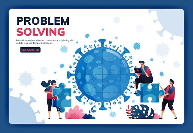 Covid-19中に問題を解決して解決策を見つけるためのチームワークとブレーンストーミングのランディングページの図
