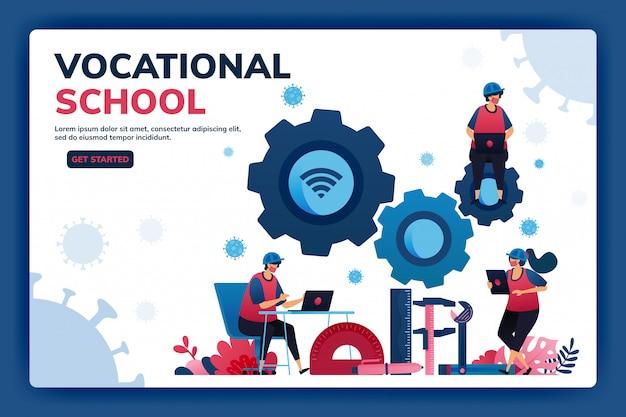 人材育成のための職業教育奨学金とeラーニングのランディングページイラスト