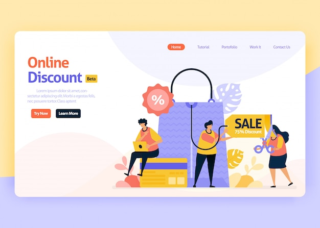 Landing page illustration of online discount