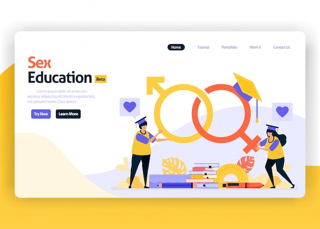 Landing page illustration of sex education