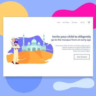Landing page illustration teaching child to prayer in mosque