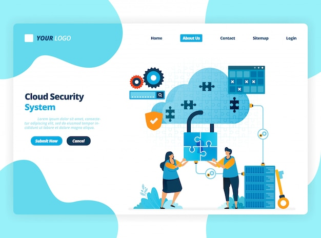 Landing page illustration template of cloud computing security system. cooperation to improve security of access to hosting