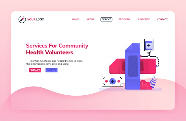 Landing page illustration template of service for community health volunteers.
