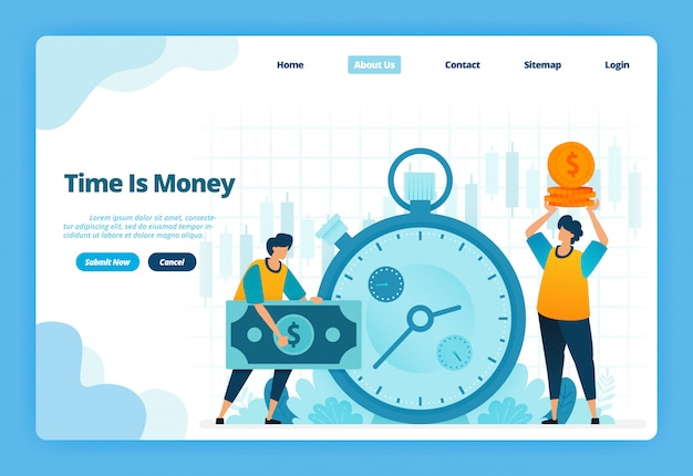 Landing page illustration of time is money. financial management for financial investment and currency exchange
