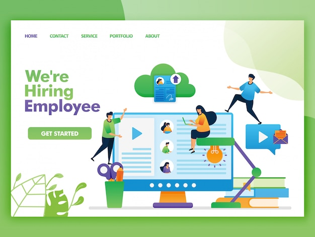 Landing page illustration of we're hiring employee and vacancies.