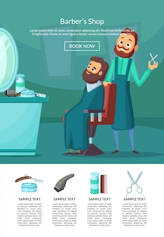 Landing page illustration with barber doing a haircut to a client insalonwith table and mirror