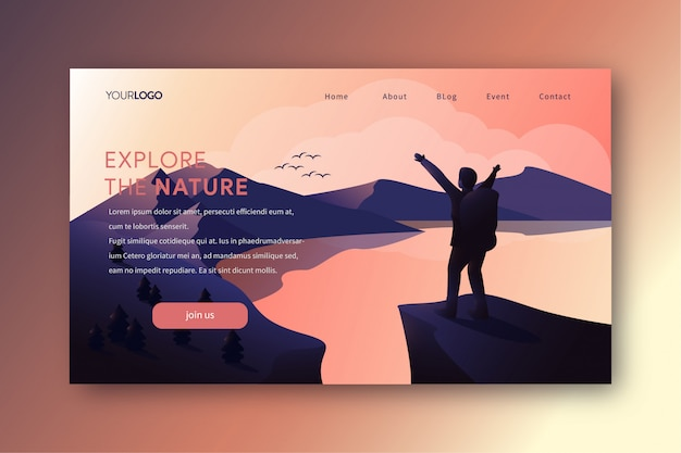 Landing page illustration with hiking man on the peak