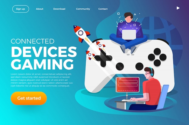 Landing page. illustrations concept game streaming platform