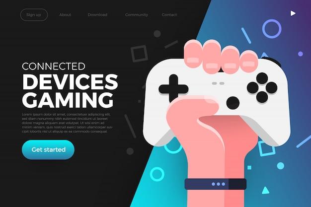 Целевая страница. иллюстрации концепции игровой потоковой платформы