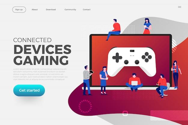 Landing page. illustrations concept game streaming platform