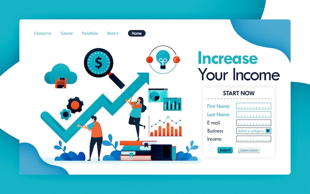 Landing page of increasing the income for business
