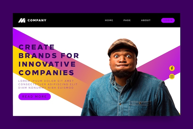 Landing page for innovative companies