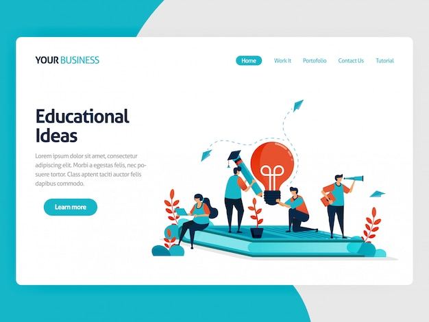 Landing page and inspiration in learning and education.