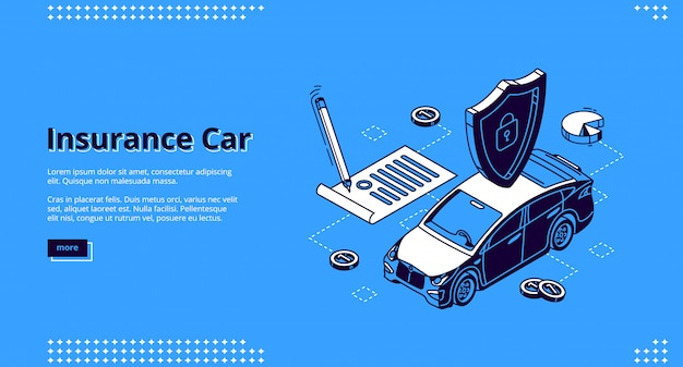 Landing page of insurance car service