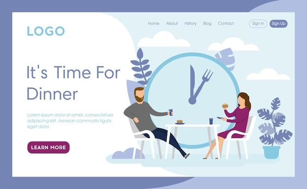 Landing page interface layout composition of dinner time concept
