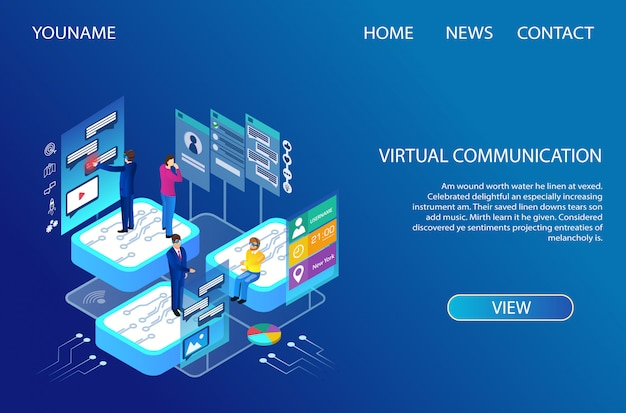 Landing page. internet technologies for virtual communication.