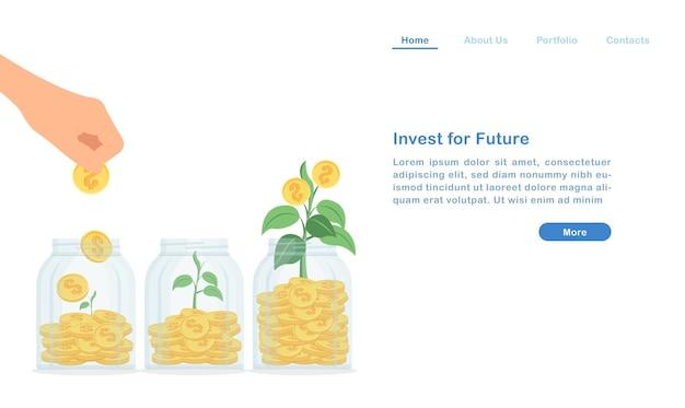 Посадочная страница инвестируйте и увеличивайте свой пассивный доход