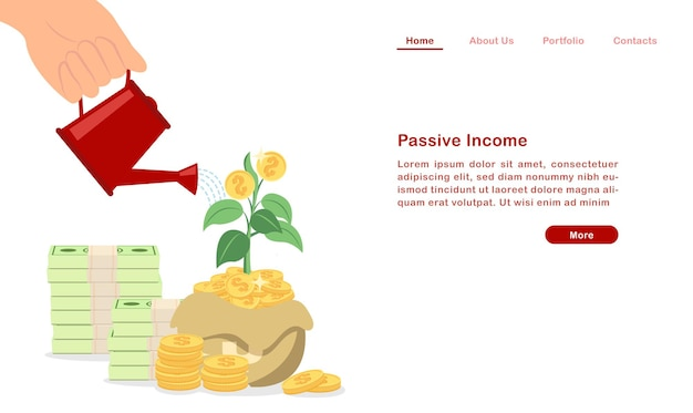 Landing page invest and grow your passive income concept