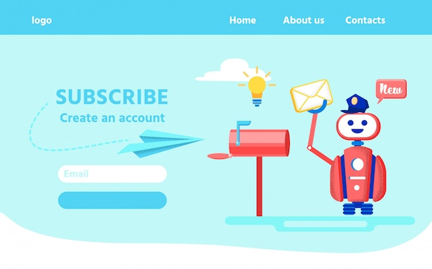 Landing page inviting subscribe and create account
