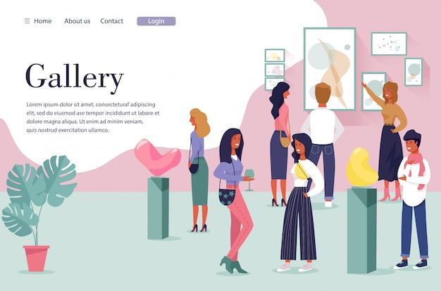 Landing page inviting visit modern art gallery