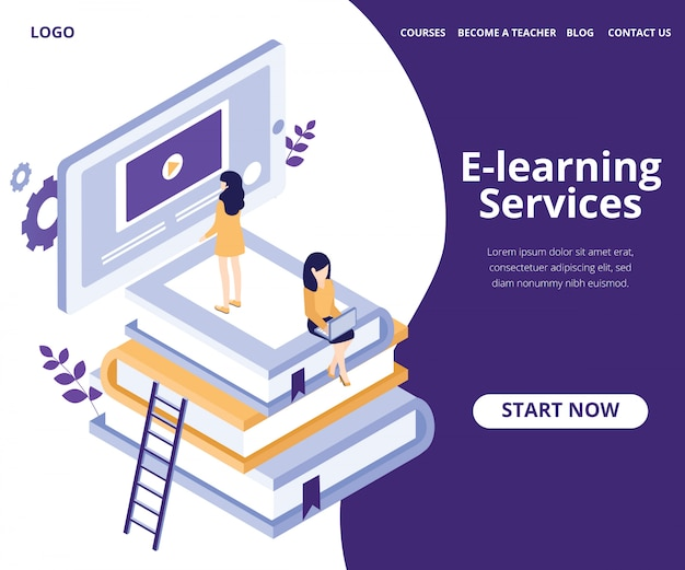 Landing page. isometric artwork concept of e learning of students