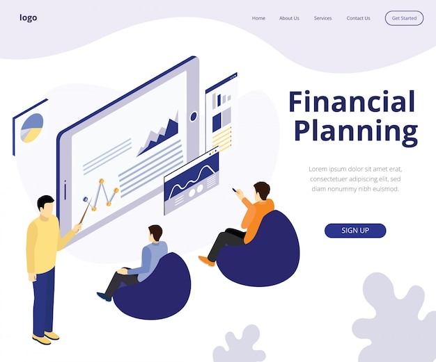 Landing page. isometric artwork concept of financial planning
