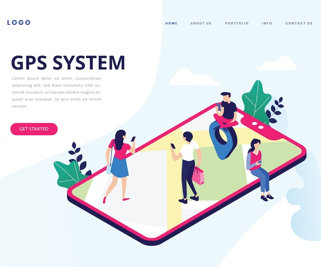 Landing page. isometric artwork concept of gps system