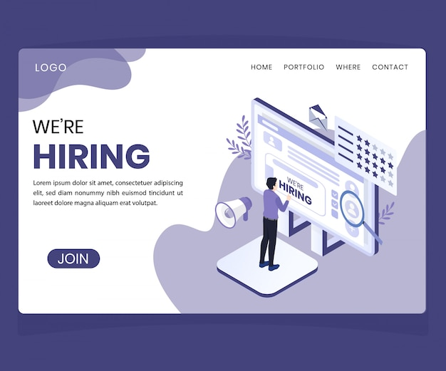 Landing page. isometric artwork concept of hiring concept