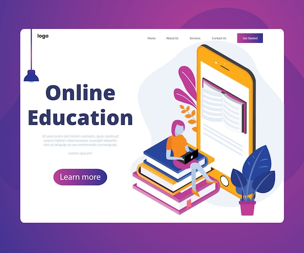 Landing page. isometric artwork concept of online education