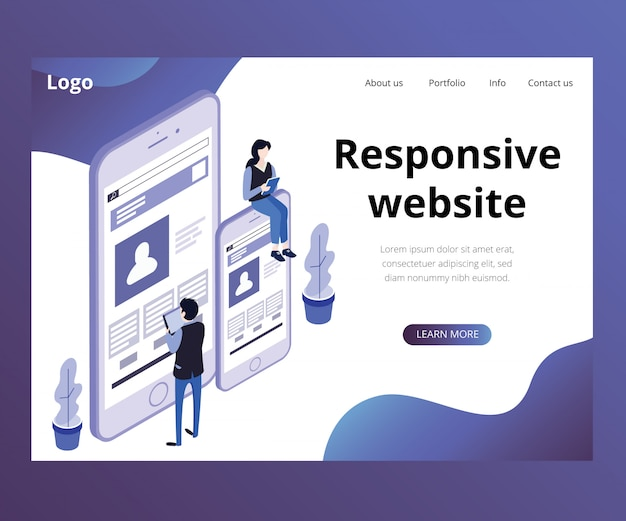 Landing page. isometric artwork concept of responsive website