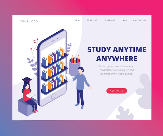 Landing page. isometric artwork concept of study anytime anywhere