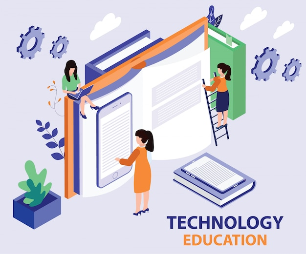 Landing page. isometric artwork concept of technology education