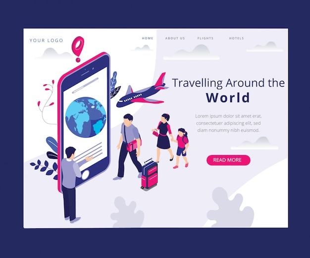 Landing page. isometric artwork concept of travel
