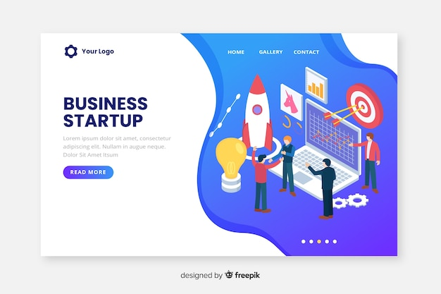 Landing page isometric business startup